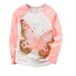 Carter's glittery butterfly tee